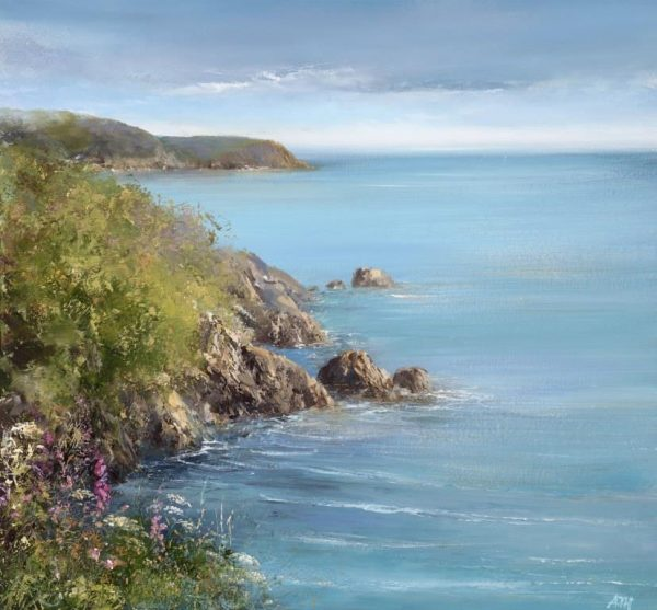 Foxgloves and Cow Parsley at Sugary Cove, Dartmouth - oil on paper - 25 x 27cm - £695 -