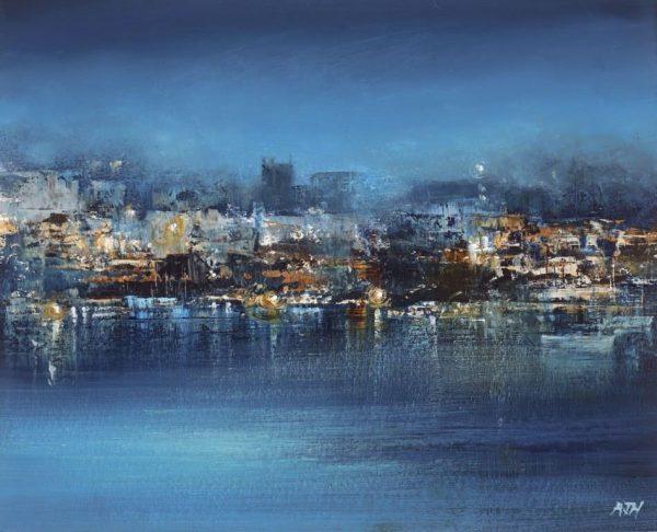Midnight Sky over Dartmouth - oil on paper - 16 x 19cm - £525