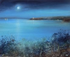 Moonlight over Start Point - oil on paper - 22.5 x 28cm - £650