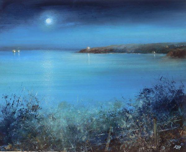 Moonlight over Start Point - oil on paper - 22.5 x 28cm - £650