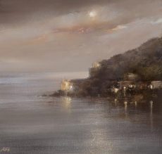 Night Reflections, Dartmouth Castle -oil on paper - 22 x23cm - £625