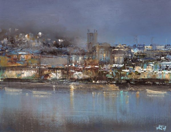 Reflections on the Waterfront, Dartmouth - oil on paper - 12 x 15cm - £450