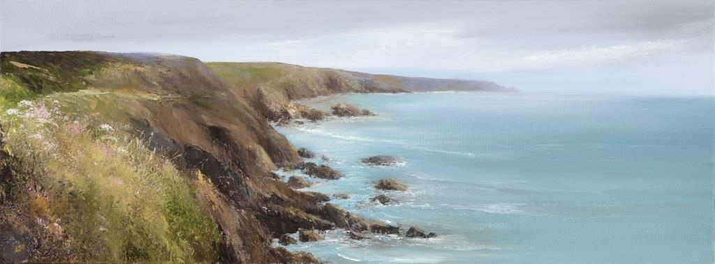 Sea Pinks at Portlemouth Down - oil on canvas - 30 x 80cm - £1,700