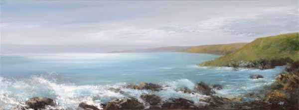The Sea Rolls in at Lannacombe Bay - oil on canvas-30 x 80cm - £1,700