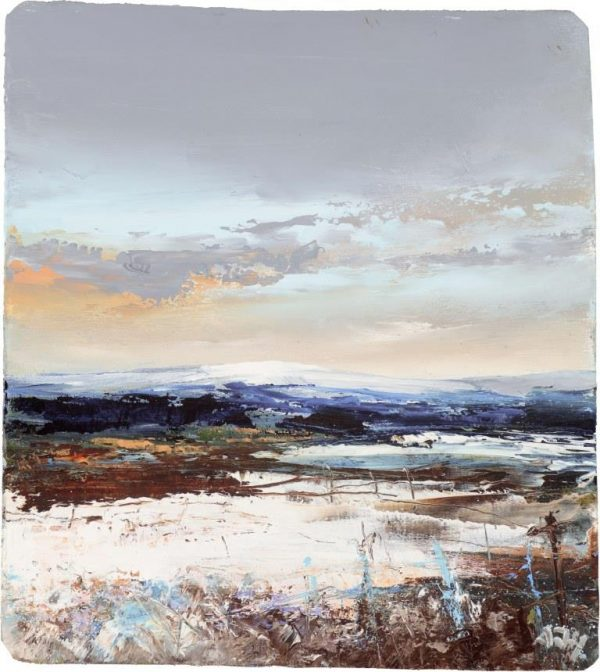 Winter Sky over Hound Torr - oil on paper - 13 x 12cm - £395.