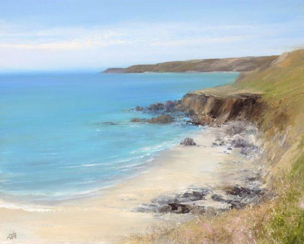 A Summer's Day on Great Mattiscombe Beach, Devon - oil on paper - 31 x 35cm £895.00