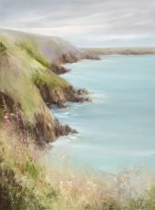 Foxgloves Watch over the Sea - oil on canvas 80 x 60cm - £2,495.00