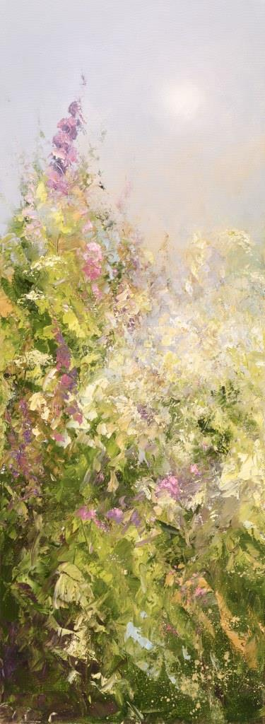 Foxgloves and Cow parsley at Little Dartmouth - oil on canvas - 80 x 30cm £1,700.00