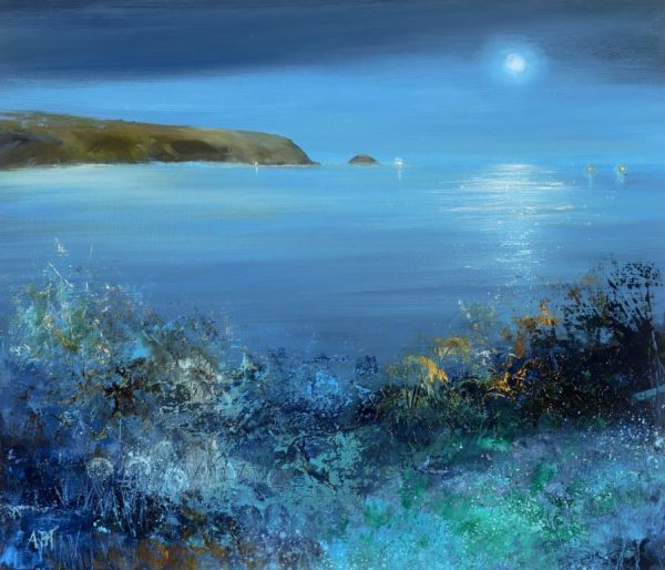 Night Colours, Start Bay - oil on paper - 26 x 31cm - £775.00