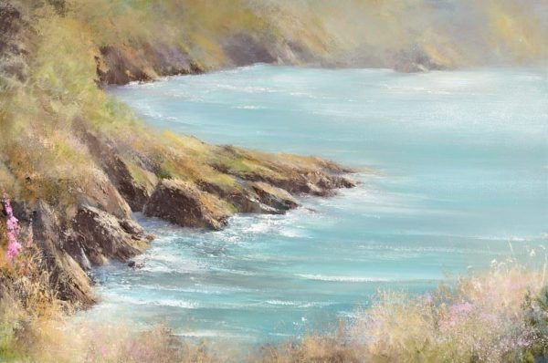 Warm Summer Light on the rocks at Kingswear - oil on canvas - 60 x 90cm - £2,750.00