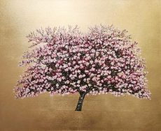 Apple Blossom, Oil and gold leaf on canvas, £1975
