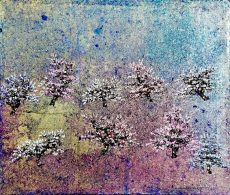 CORAL BLOOM, Oil and gold leaf on canvas, 51cm x 43cm, £900