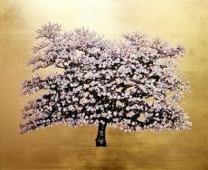 Farleigh, Flowering Damson, Oil and gold leaf on canvas, £1975