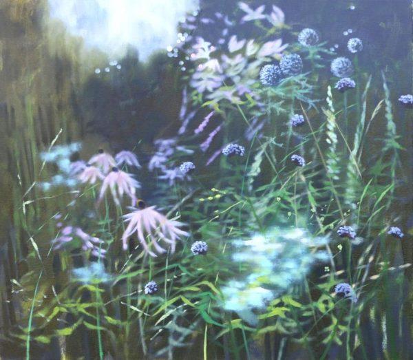 Dylan Lloyd - Garden with magnolia, 55 x 50cm oil on canvas, framed