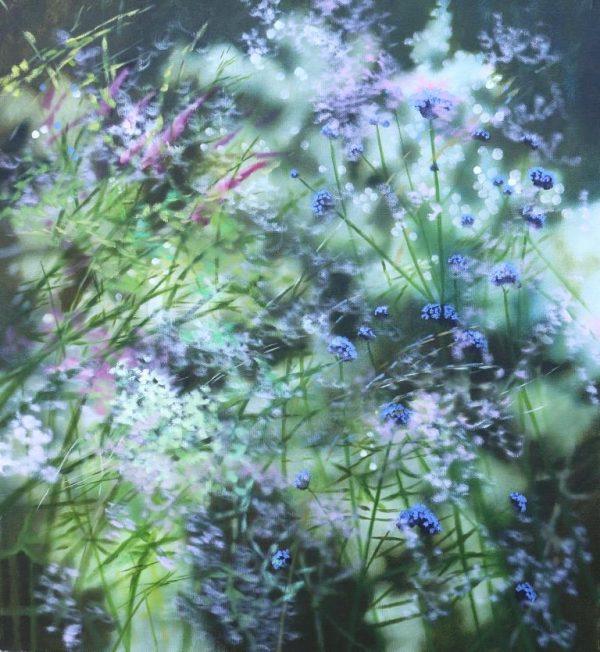 Dylan Lloyd - Pink drift, 55 x 50cm oil on canvas, framed