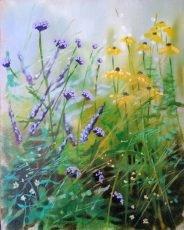 Dylan Lloyd - Wild border study I 30 x 24cm oil on linen board, framed