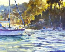 Chris Forsey Glowing sunlight, sparkling water, Warfleet 60x50 £1350