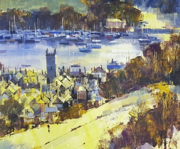 Chris Forsey High view down to Dartmouth 60x50 £1350