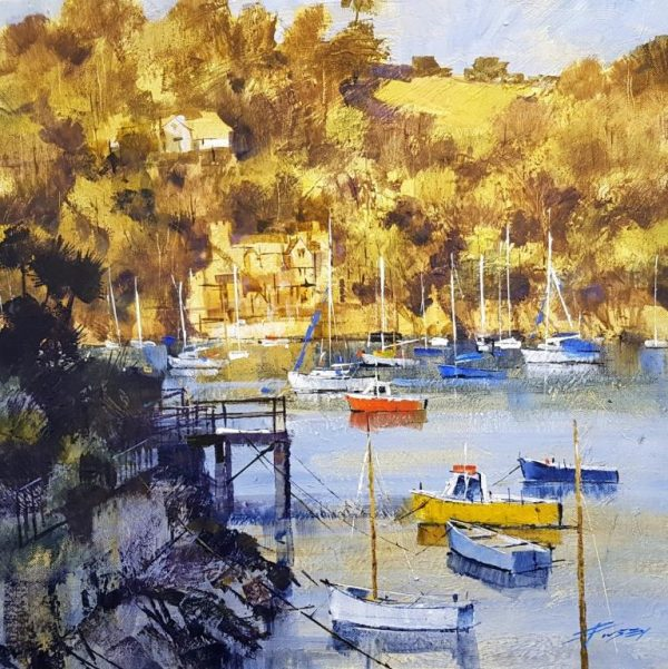 Chris Forsey Into the Dart, evening golds 50x50 £1250