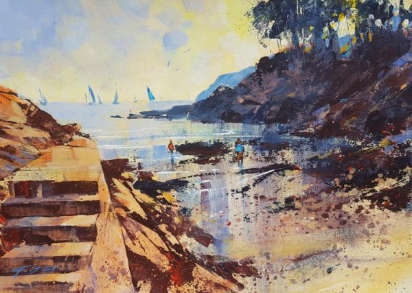 Paddling in the shallows, Castle Cove 28x40 £795