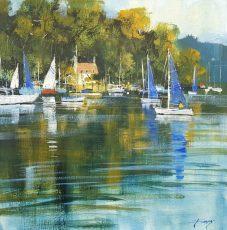 Chris Forsey Sail&calm waters, Dittisham 50x50 £1250