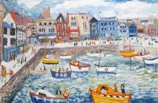 Dartmouth Quay with yellow boats - Simeon Stafford 76x50 £2650