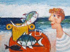 Fisherman in blue stripe t shirt - Simeon Stafford 60x45 £2250