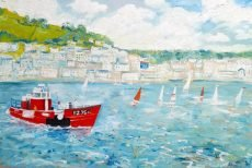 Red boat on the river - Simeon Stafford 76x50 £2650